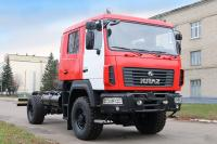 KrAZ presented a fire truck chassis with the MAZ cabin