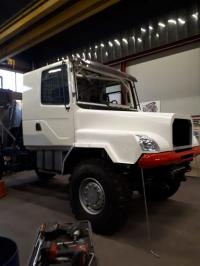 Dutch rally driver is working on a bonneted DAF truck for rallyraids